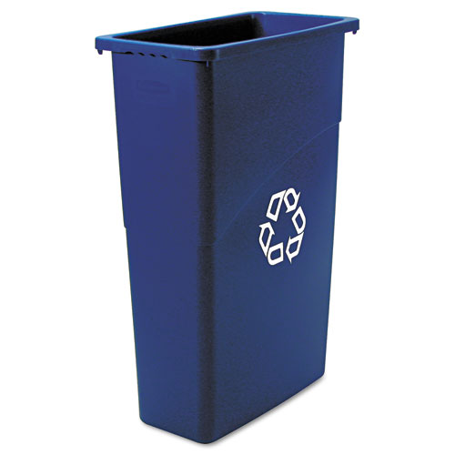 Rubbermaid® Commercial Slim Jim Recycling Container, Rectangular, 23 gal, Black/Blue