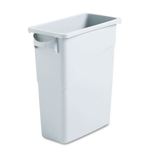 Rubbermaid® Commercial Slim Jim Waste Container with Handles, Rectangular, Plastic, 15.9 gal, Light Gray