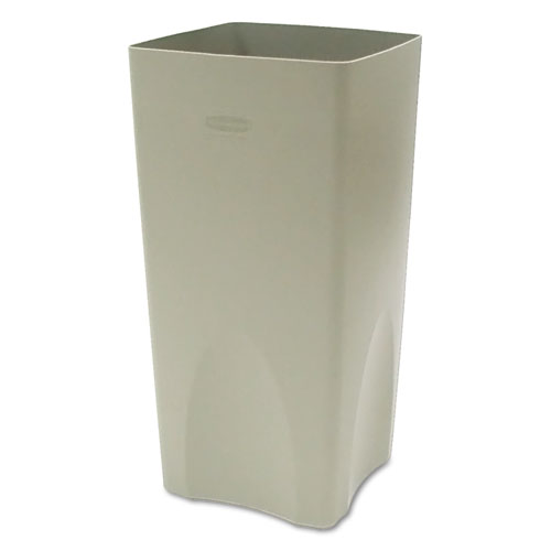 Plaza Waste Container Rigid Liner, Square, Plastic, 19 gal, Beige