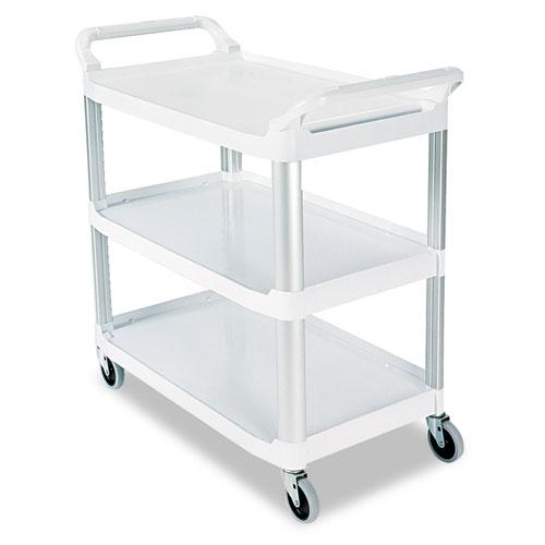 Open Sided Utility Cart, Three-Shelf, 40.63w x 20d x 37.81h, Off-White