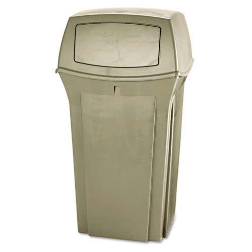 Rubbermaid® Commercial Ranger Fire-Safe Container, Square, Structural Foam, 35 gal, Beige