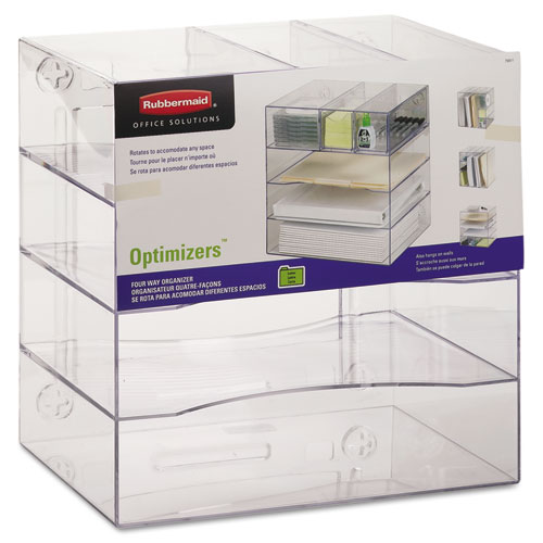 Optimizers Four-Way Organizer with Drawers, Plastic, 10 x 13 1/4 x 13 1/4, Clear