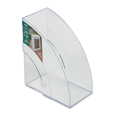 Optimizers Deluxe Plastic Magazine Rack, 5 1/4 x 9 x 11 1/8, Clear | by Plexsupply