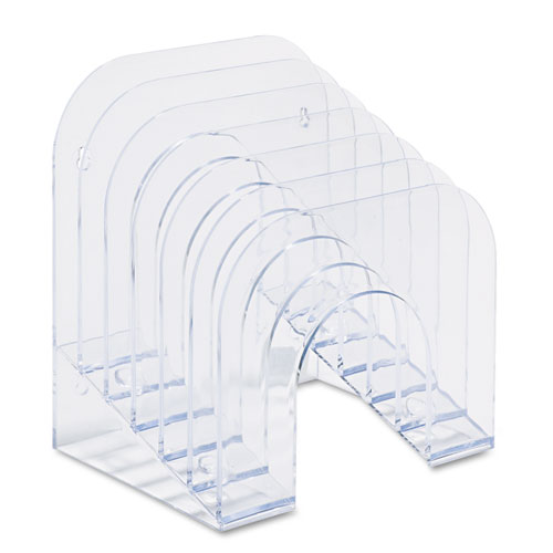 """Optimizers Multifunctional Six-Tier Jumbo Incline Sorter, 6 Sections, Letter Size Files, 9.38"""" x 10.5"""" x 7.38"""", Clear 
