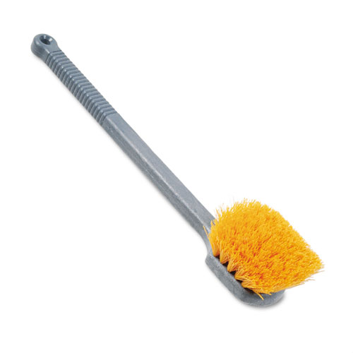 "Rubbermaid® Commercial Long Handle Scrub, 8"" Plastic Handle, Gray Handle w/Yellow Bristles"
