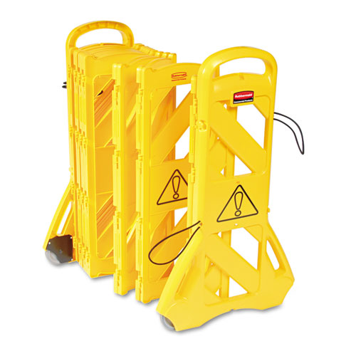 "Portable Mobile Safety Barrier, Plastic, 13ft x 40"", Yellow"