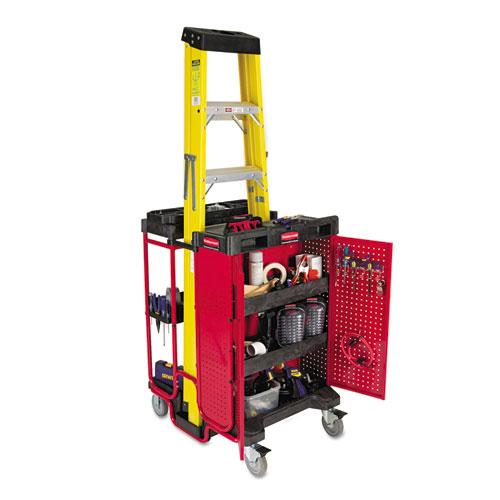 Ladder Cart w/Cabinet, Three-Shelf, 27w x 31-1/2d x 42h, Black/Red