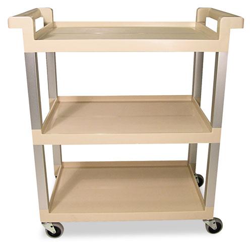 Three-Shelf Service Cart w/Brushed Aluminum Upright, 16.25w x 31.5d x 36h, Beige