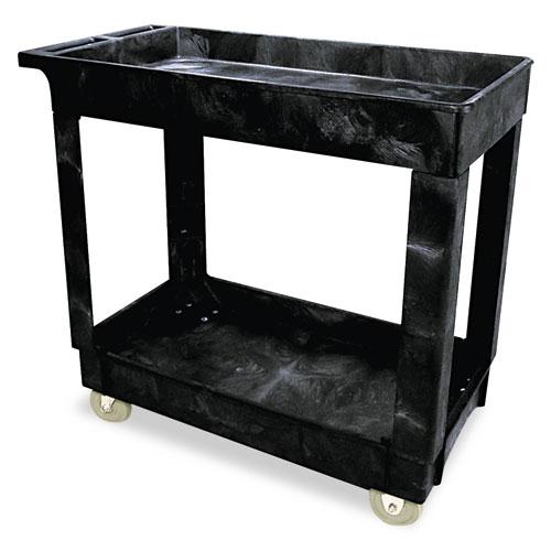 Service/Utility Cart, Two-Shelf, 34.13w x 17.38d x 32.38h, Black