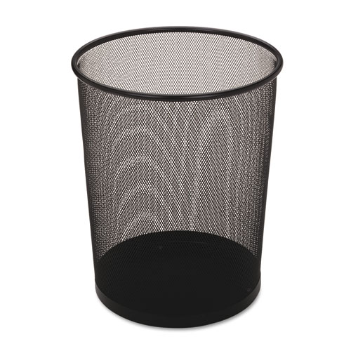 Rubbermaid® Commercial Steel Mesh Wastebasket, Round, 5 gal, Black