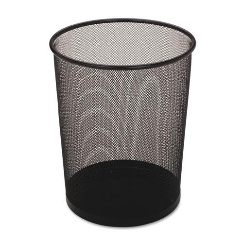 Rubbermaid® Commercial Steel Mesh Wastebasket, Round, 5 gal, Black, 6/Carton