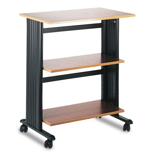 Muv Mobile Machine Cart, Three-Shelf, 29.5w x 20d x 35h, Cherry/Black | by Plexsupply
