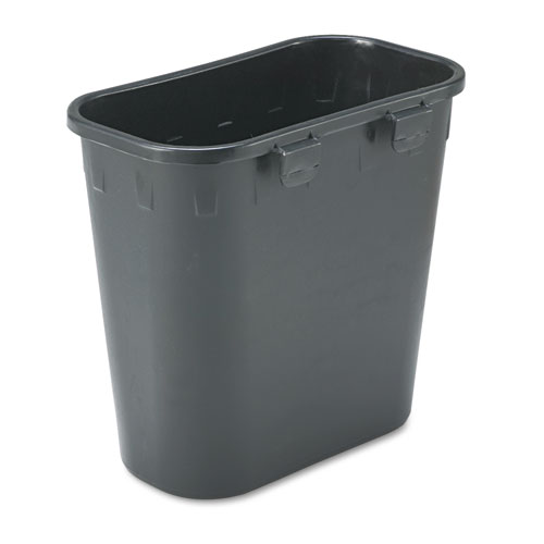 Paper Pitch Recycling Bin, Rectangular, Polyethylene, 1.75 gal, Black | by Plexsupply