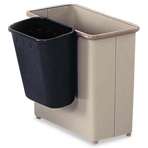 Paper Pitch Recycling Bin, Rectangular, Polyethylene, 1.75gal, Black