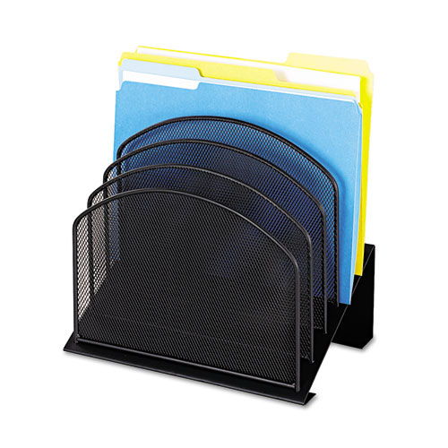"""Onyx Mesh Desk Organizer with Tiered Sections, 5 Sections, Letter to Legal Size Files, 11.25"""" x 7.25"""" x 12"""", Black 