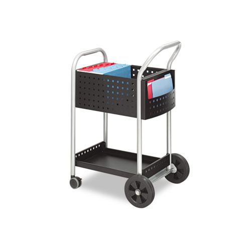 Scoot Mail Cart, One-Shelf, 22w x 27d x 40.5h, Black/Silver