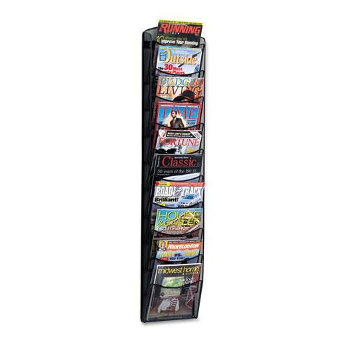 Onyx Mesh Literature Rack, Ten Compartments, 10.25w x 3.5d x 50.75h, Black | by Plexsupply