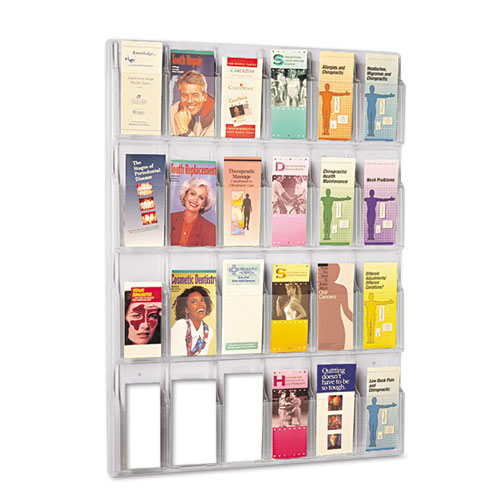 Reveal Clear Literature Displays, 24 Compartments, 30w x 2d x 41h, Clear | by Plexsupply