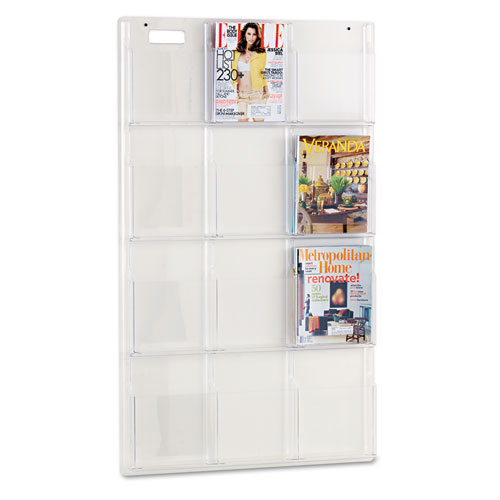Reveal Clear Literature Displays, 12 Compartments, 30w x 2d x 49h, Clear | by Plexsupply