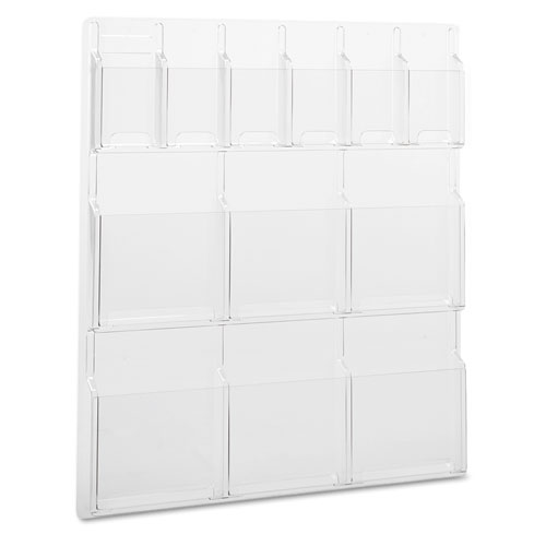Reveal Clear Literature Displays, 12 Compartments, 30w x 2d x 34.75h, Clear