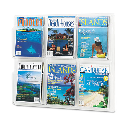 Reveal Clear Literature Displays, 6 Compartments, 30w x 2d x 24.5h, Clear