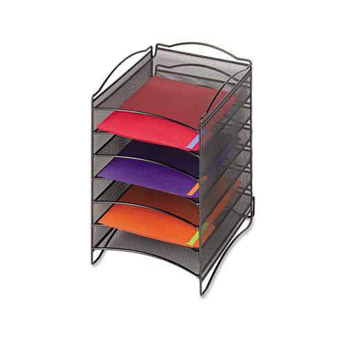Onyx Steel Mesh Lliterature Sorter, Six Compartments, Black | by Plexsupply