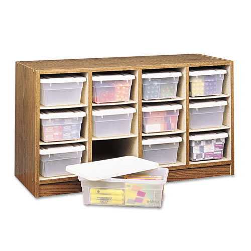 Modular Wood/Plastic 12 Bin Supplies Organizer, 34 x 13 x 19, Medium Oak/Clear