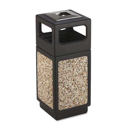 Safco® Canmeleon Ash/Trash Receptacle, Square, Aggregate/Polyethylene, 15 gal, Black