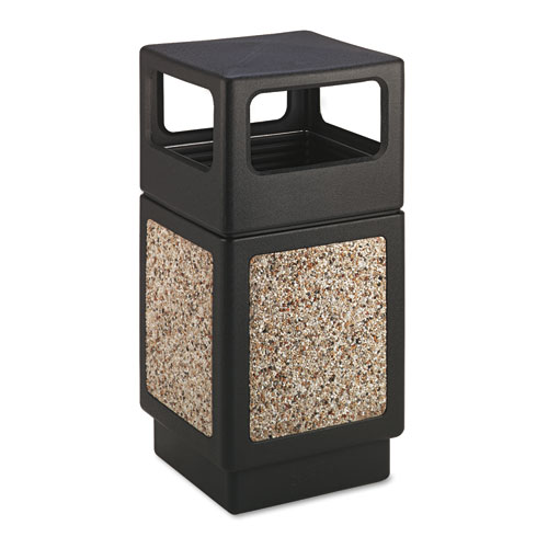 Safco® Canmeleon Side-Open Receptacle, Square, Aggregate/Polyethylene, 38 gal, Black
