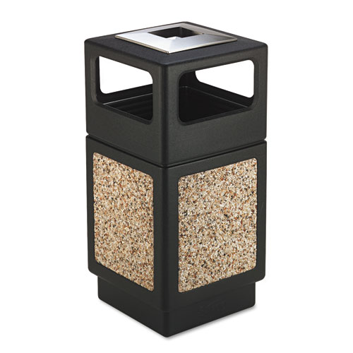 Canmeleon Ash/Trash Receptacle, Square, Aggregate/Polyethylene, 38 gal, Black | by Plexsupply