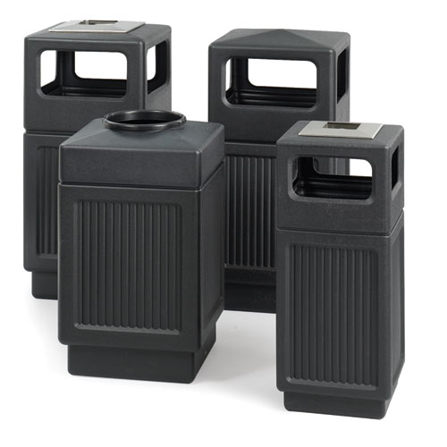 Safco® Canmeleon Ash/Trash Receptacle, Square, Polyethylene, 15 gal, Textured Black