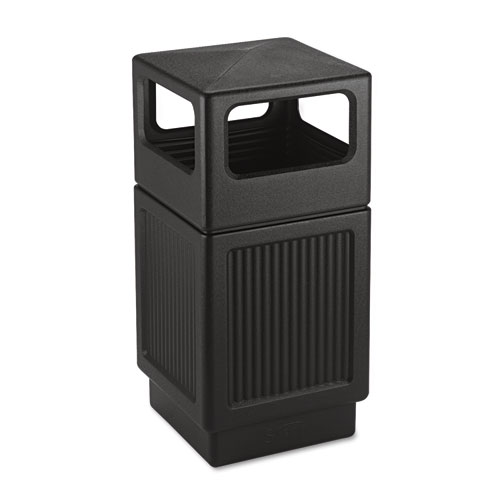 Canmeleon Side-Open Receptacle, Square, Polyethylene, 38 gal, Textured Black   by Plexsupply