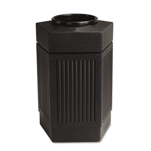 Safco® Canmeleon Indoor/Outdoor Receptacle, Pentagon, Polyethylene, 30 gal, Black