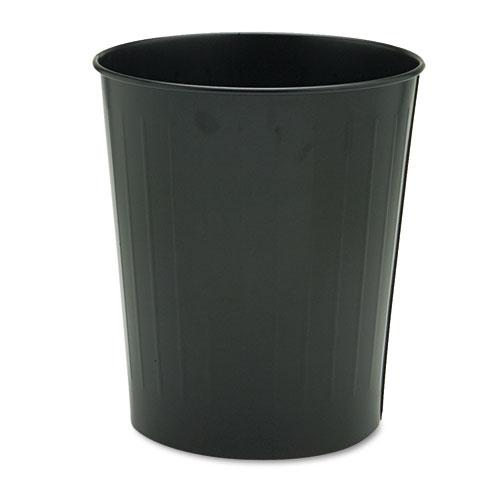 Safco® Round Wastebasket, Steel, 23.5 qt, Black
