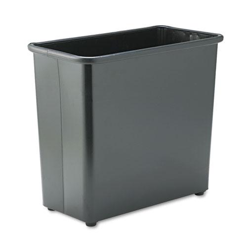Safco® Rectangular Wastebasket, Steel, 27.5 qt, Black