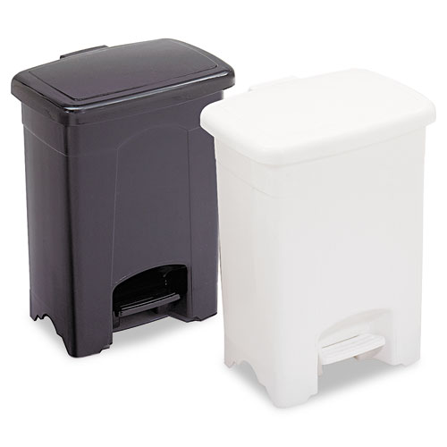 Safco® Step-On Receptacle, Rectangular, Plastic, 4gal, Black