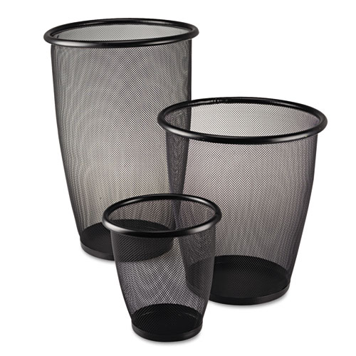 Safco® Onyx Round Mesh Wastebasket, Steel Mesh, 3qt, Black