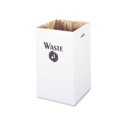 Safco® Corrugated Waste Receptacle, Square, 40 gal, White, 12/Carton