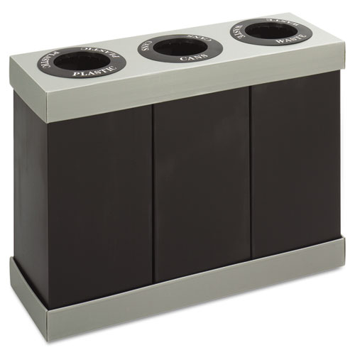 Safco® At-Your-Disposal Recycling Center, Polyethylene, Two 56 gal Bins, Black