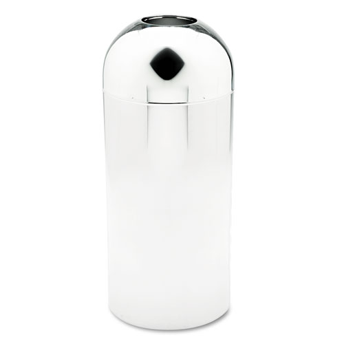 Safco® Reflections Open-Top Dome Receptacle, Round, Steel, 15 gal, Chrome