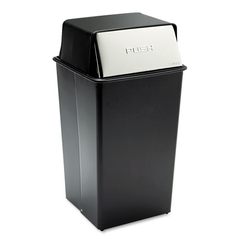 Safco® Reflections Push Top Square Receptacle, Steel, 36 gal, Black/Chrome