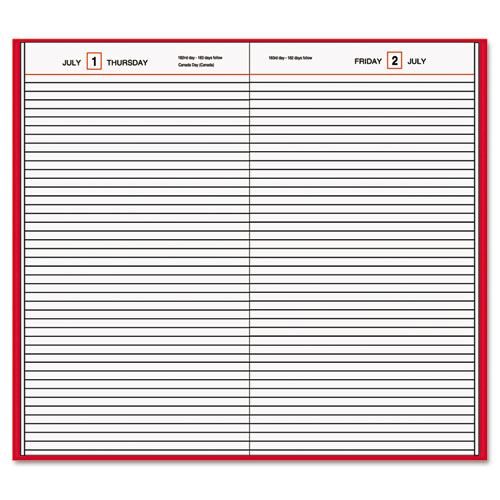 Standard Diary Daily Diary, Recycled, Red, 12 1/8 x 7 11/16, 2020 | by Plexsupply