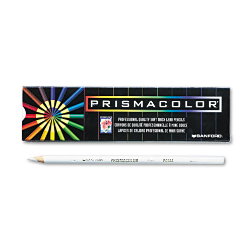Premier Colored Pencil, 3 mm, 2B (#1), White Lead, White Barrel, Dozen | by Plexsupply