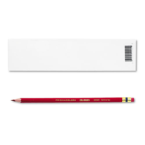 Col-Erase Pencil with Eraser, 0.7 mm, 2B (#1), Carmine Red Lead, Carmine Red Barrel, Dozen | by Plexsupply