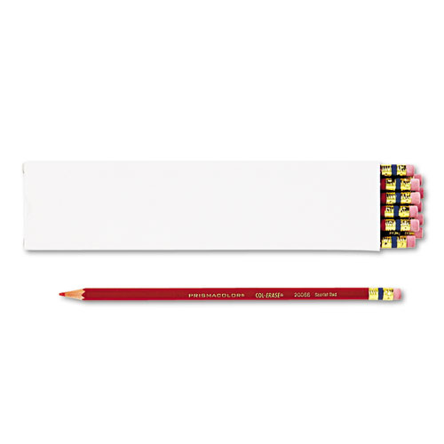 Col-Erase Pencil with Eraser, 0.7 mm, 2B (#1), Scarlet Red Lead, Scarlet Red Barrel, Dozen | by Plexsupply