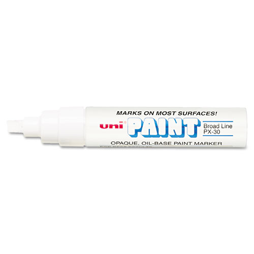 Permanent Marker, Broad Chisel Tip, White