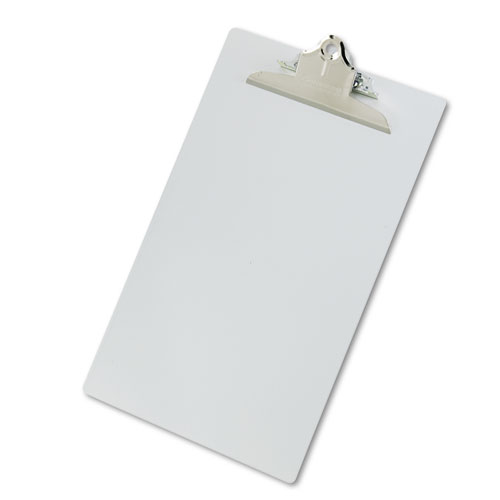 "Aluminum Clipboard w/High-Capacity Clip, 1"" Clip Cap, 8 1/2 x 14 Sheets, Silver 
