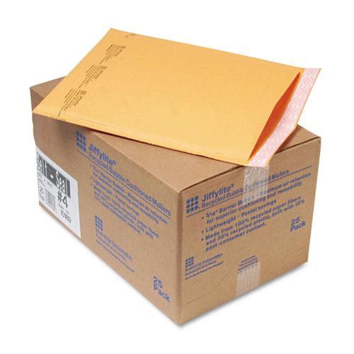 Sealed Air Jiffylite Self-Seal Bubble Mailer, #4, Barrier Bubble Lining, Self-Adhesive Closure, 9.5 x 14.5, Golden Kraft, 25/Carton