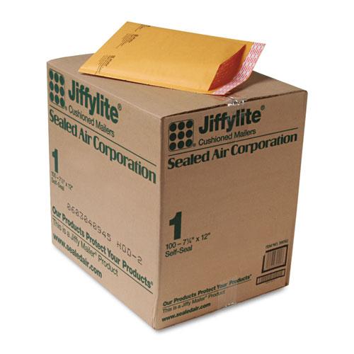 Sealed Air Jiffylite Self-Seal Bubble Mailer, #1, Barrier Bubble Lining, Self-Adhesive Closure, 7.25 x 12, Golden Kraft, 100/Carton