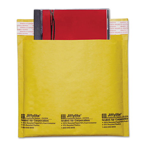 Sealed Air Jiffylite Self-Seal Bubble Mailer, CD, Barrier Bubble Lining, Self-Adhesive Closure, 7.25 x 8, Light Brown Kraft, 25/Carton